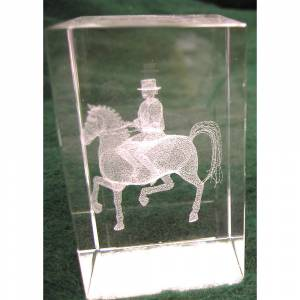 Crystal Etched Dressage Horse Paperweight