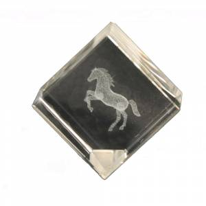 Crystal Etched Rearing Horse Diagonal Paperweight