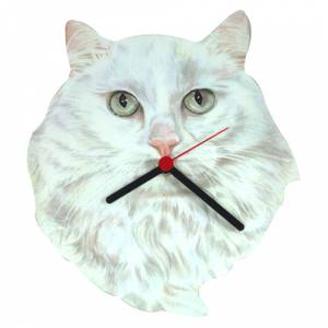 White Cat Head Shaped Clock