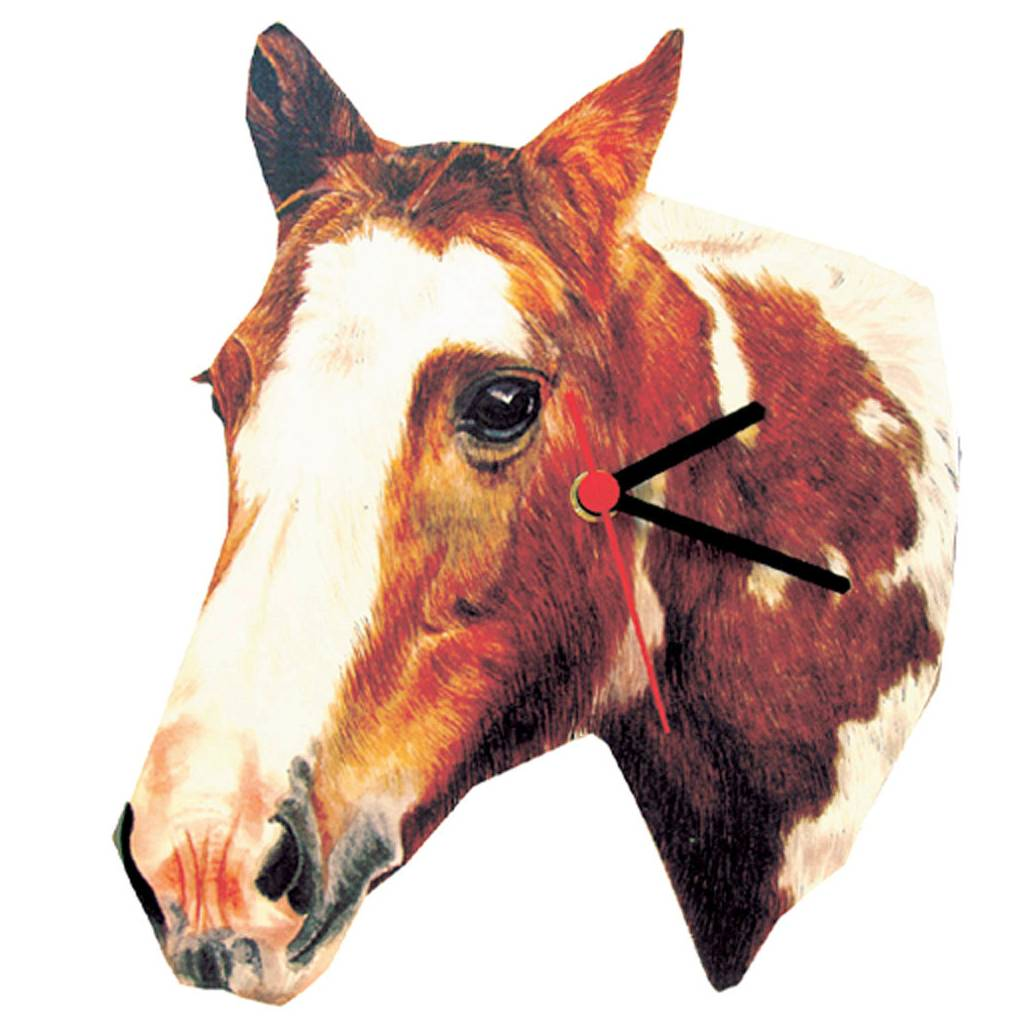 Piebald Horse Head Shaped Clock