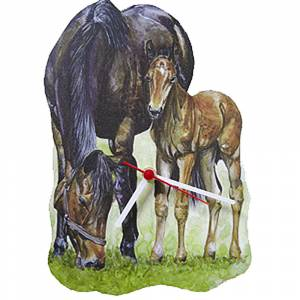 Mare and Foal Shaped Clock