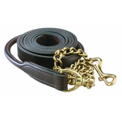 Perris Leather Collection Rolled Leather Lead with Solid Brass Chain