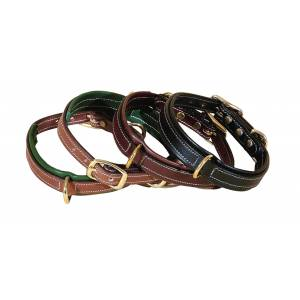 Tory Leather Narrow Padded Dog Collar With Center Dee