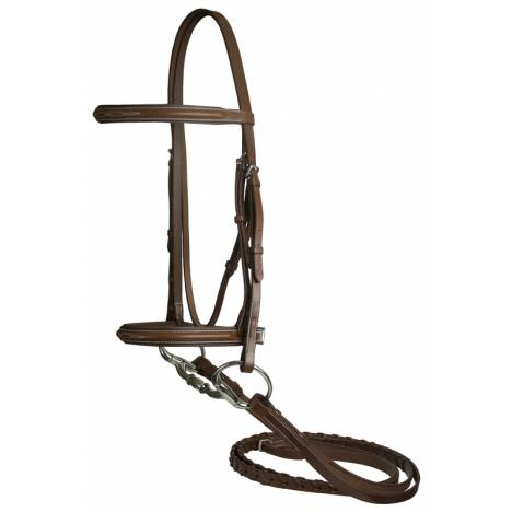 DaVinci Fancy Raised Padded Bridle with Flat Laced Reins