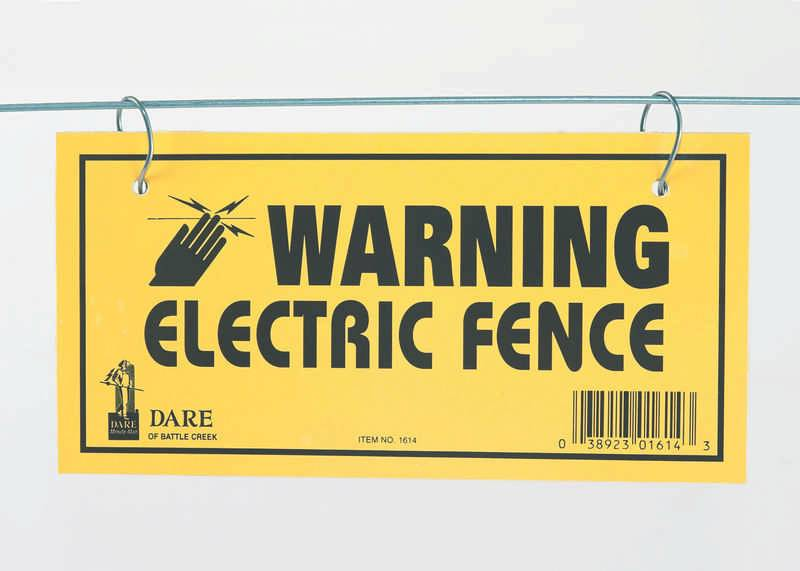 Dare Products Electric Fence Warning Sign