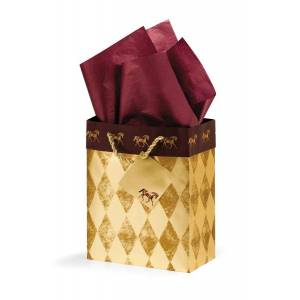 Harlequin Horses Cub Gift Bag - Gold/Burgundy