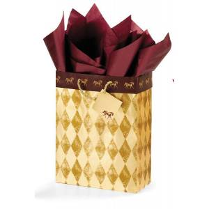 Harlequin Horses Vertical Vogue Gift Bag - Gold/Burgundy