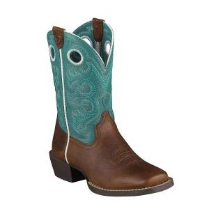 Ariat Crossfire Western Boots - Kids - Brown/Turquoise