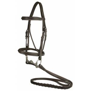 DaVinci Plain Raised Padded Comfort Crown Bridle with Plain Raised Laced Reins