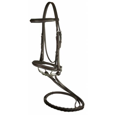 Da Vinci Plain Raised Padded Bridle with Flat Laced Reins