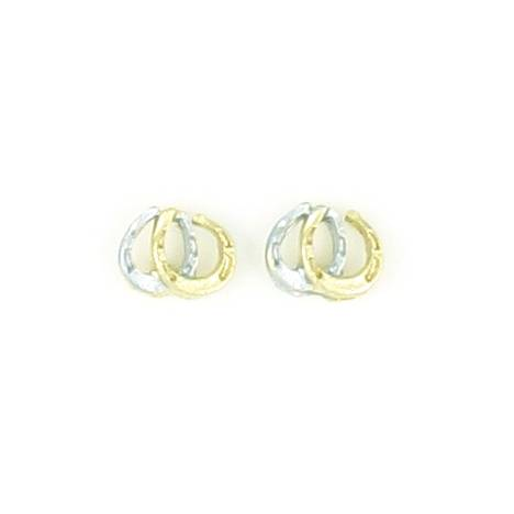Finishing Touch Double Horseshoe 2-Tone Earrings