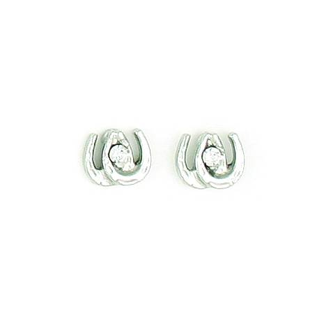 Finishing Touch Mini Double Horseshoe Earrings with Stone