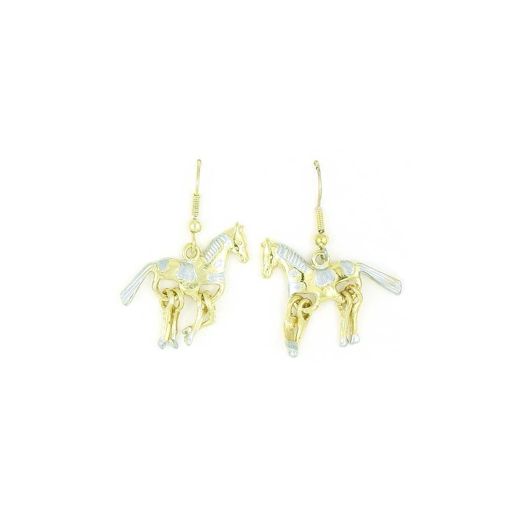 Finishing Touch 2-Tone Horse Wiggle Leg Earrings