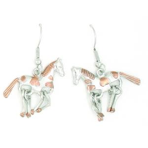 Finishing Touch 2-Tone Horse Wiggle Leg Fishhook Earrings