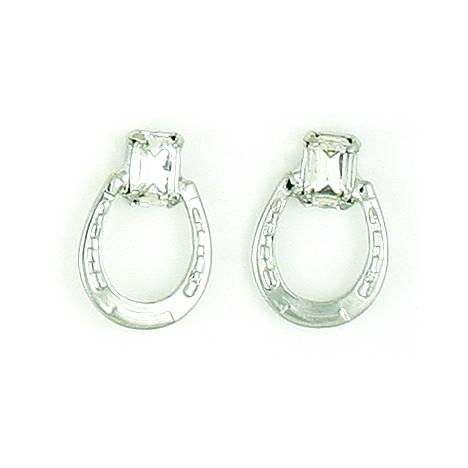 Finishing Touch Horseshoe/Emerald Cut Stone Earrings