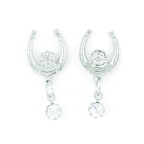 Finishing Touch Horseshoe with 2 Crystals Earrings