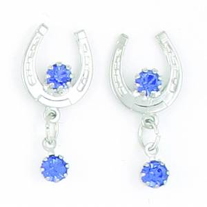 Finishing Touch Horseshoe with  2 Sapphires Earrings