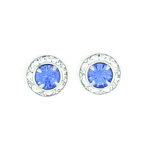 Finishing Touch Rondelle Stone Earrings - Sapphire
