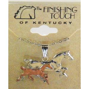 Finishing Touch 2-Tone Bob Tail Mare And Foal Pendant