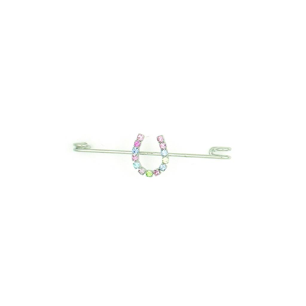 Finishing Touch Pastel Rhinestone Horseshoe Stock Pin