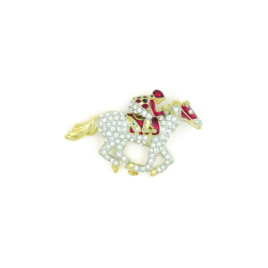 Finishing Touch Pave' Thoroughbred Racer Pin - Red