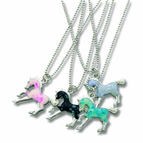 KY Enamel Horse Pendant Necklace