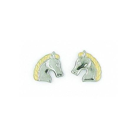 Finishing Touch 2-Tone Regal Horse Head Earrings