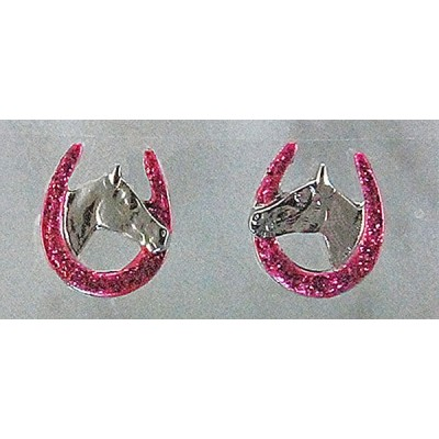 Finishing Touch Horse Head In Horseshoe Glitter Earrings