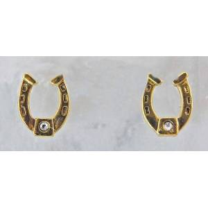 Finishing Touch Horseshoe with  Crystal Stone Post Earrings