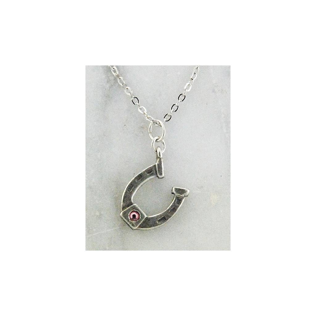 Finishing Touch Horseshoe Stone Necklace - Rose