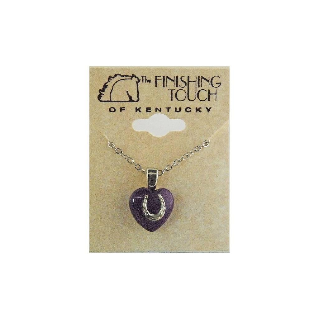 Finishing Touch 12 mm Heart with Horseshoe Necklace - Purple