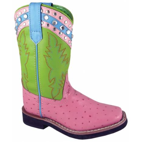 Smoky Mountain Billie Jean Leather Western Boots - Youth, Pink/Lime