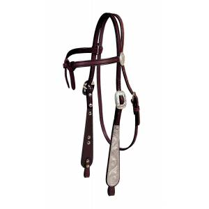 Tory Leather Old West Oklahoma Knotted Brow Headstall with  Wide Buckaroo Cheeks