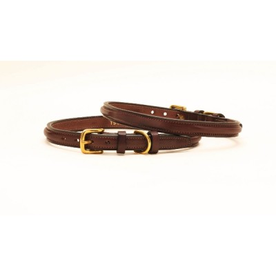 Tory Leather Deluxe Raised Leather Dog Collar With  Raised Keepers