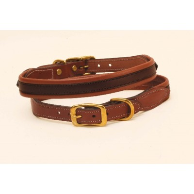 Tory Leather Milled Rolled Back Center Strip Dog Collar
