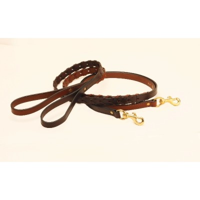 Tory Leather Laced Leather Dog Leash