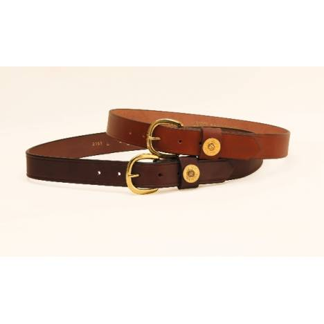"TORY LEATHER 1 1/4"" Shot Shell Belt with Brass Buckle"