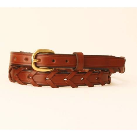 "TORY LEATHER 3/4"" Laced Leather Belt with Brass Buckle"