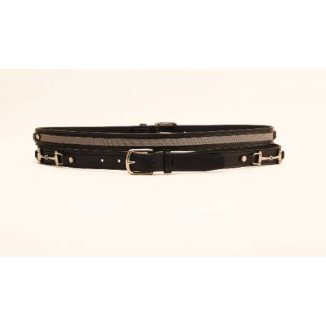 "TORY LEATHER 1"" Belt with Ribbon & Snaffle Bits"
