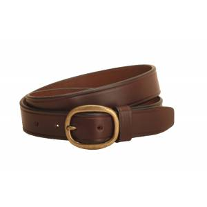 Tory Leather Plain Leather Belt with Brass Buckle- 1 1/4
