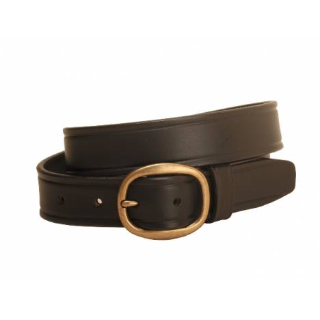 Tory Leather Plain Leather Belt with Brass Buckle- 1 1/4""