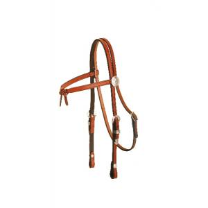 Tory Leather Brow Knot Headstall - 3-Piece Silver Buckle Set