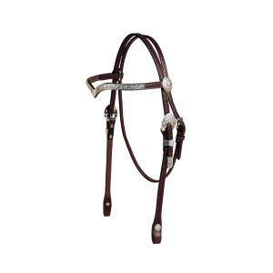 Tory Leather Pecos Bill Beaded Style Silver V Brow Headstall