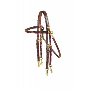 Tory Leather Double Bridle Sidecheck Training Headstall - Snap Ends