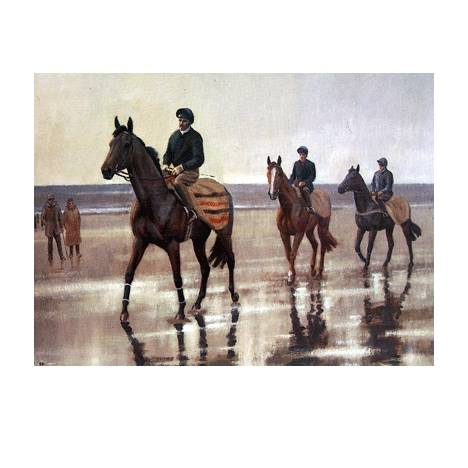 On the Sands (Horse Racing) Blank Greeting Cards - 6 Pack