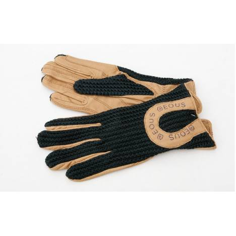 EOUS Kids Leather Crochet Gloves