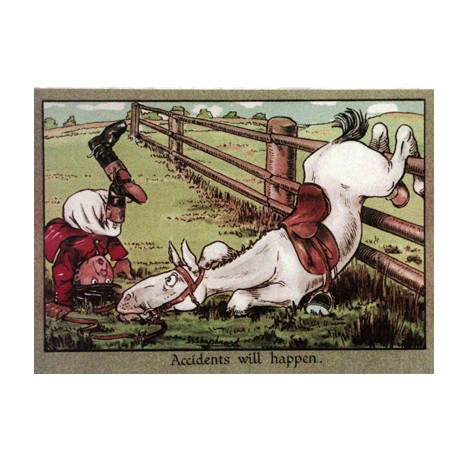 Horses - Accidents will Happen Blank Greeting Cards - 6 Pack