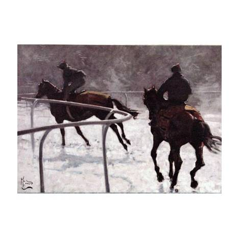Horse Racing - Frosty Gallops Blank Greeting Cards - 6 Pack