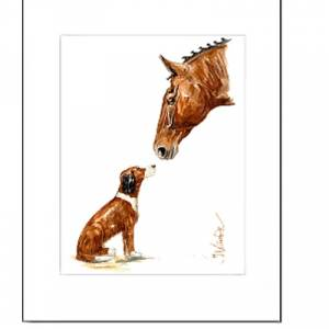 Jan Kunster Horse Prints - Friends 2 (Horse and Dog) Matted
