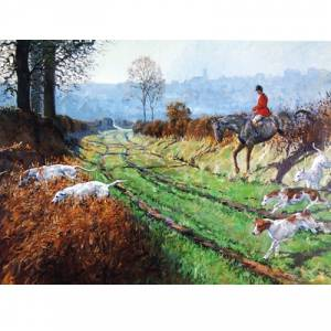 Crossing the Lane (Fox Hunting) Blank Greeting Cards - 6 Pack